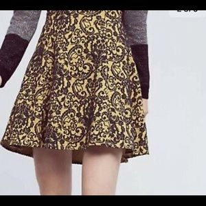 Anthropologie Maeve blue/yellow paisley skirt